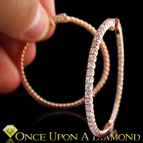 2 00 Carat Inside Out Hoop Diamond Earrings Round Rose Gold in and Out | eBay