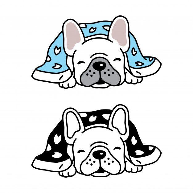 Dog Vector French Bulldog Puppy Sleeping Blanket Cartoon In 2020