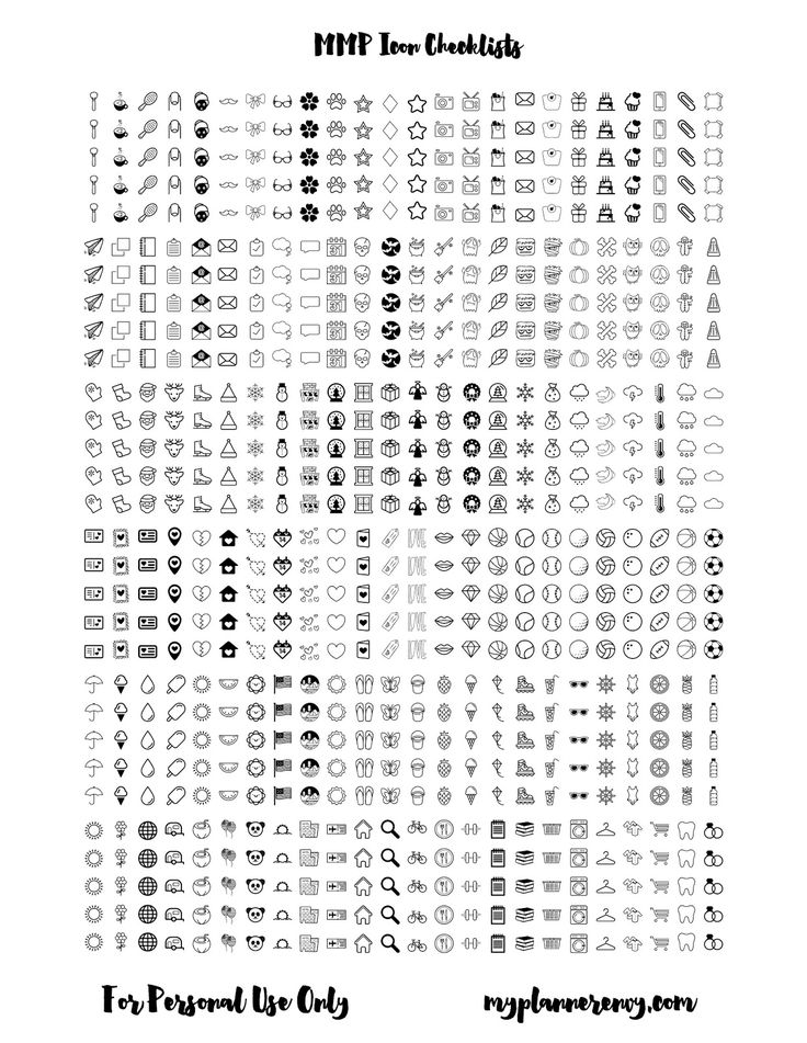 MMP Icon Checklist Columns for your planner