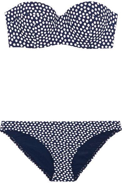 Tory Burch - Polka-dot Bandeau Bikini - Navy - medium