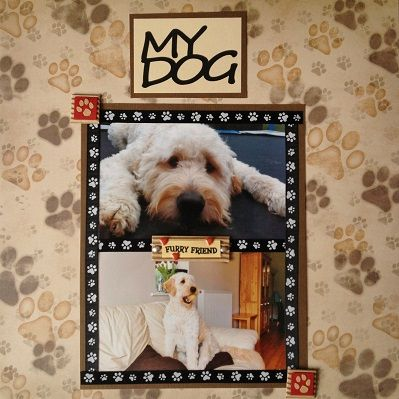 This gorgeous layout uses 'Love those Paws' 12x12 paper, paw print ribbon, the 'My Dog' laser cut title and a few Essentials 3D stickers from Sunshine Scrapbooking.