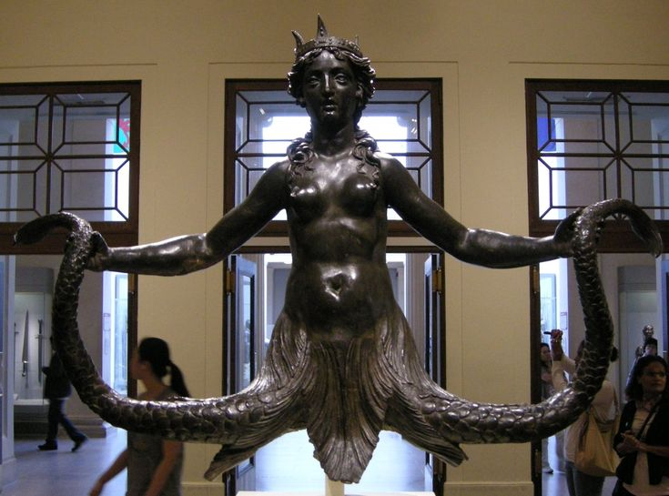 Renaissance bronze sculpture of a Sirena bicaudata (double-tailed mermaid) representing presumably a copy of an Etruscan Scylla presentation, 1570-90. Origin Rome. Metropolitan Museum New York