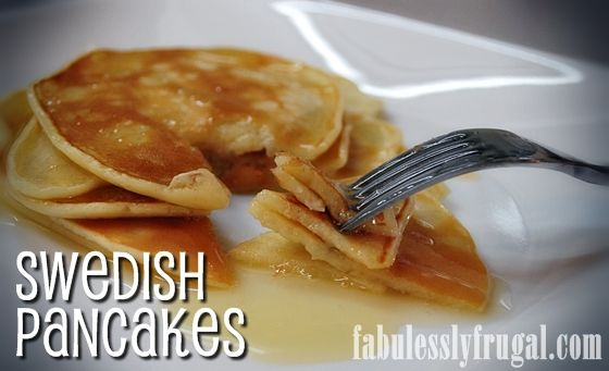 Amazing, easy and delicious!  My 3 favorite things! http://fabulesslyfrugal.com/2012/09/swedish-pancakes-and-caramel-syrup-recipe.html
