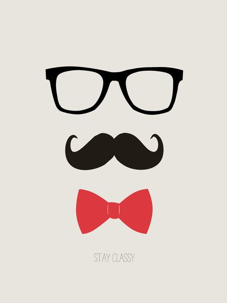 mustache pictures | STAY CLASSY - MUSTACHE & BOW TIE Art Print by Allyson Johnson ...