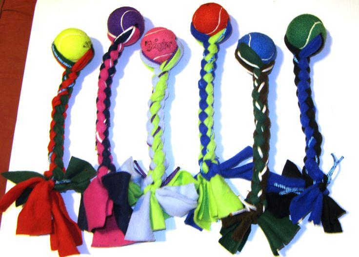 Tennis Ball Tug Toy for Big Dogs. $6.00, via Etsy.