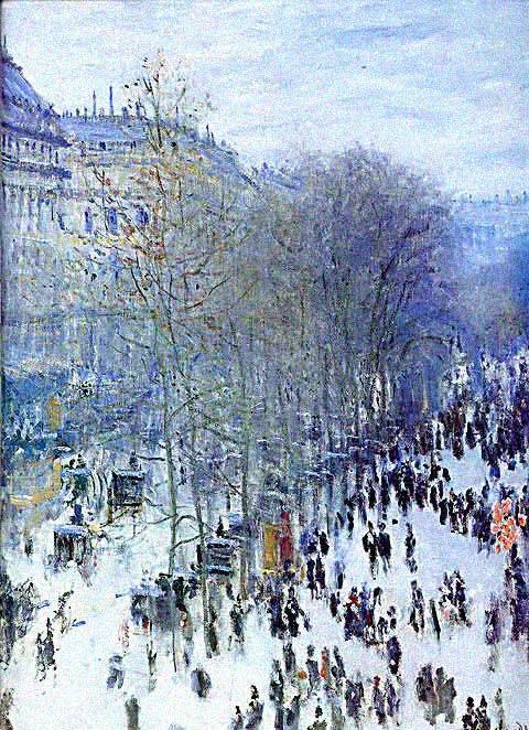 Boulevard des capucines by Monet: Capucin Winter, Des Capucines
