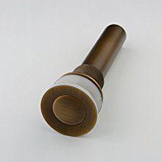 Hiendure® Válvula Desagüe Pop-up Tubo Atomizador lavabo Baño Cobre Grifo Tapón de sin desbordamiento, latón antiguo