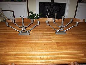 Pair of Just Andersen Art Deco pewter candelabra. Danish design.