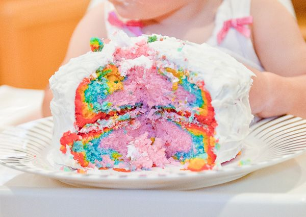 love the rainbow smash cake! the white fosting and bright oclors are so fun.  birthdayparade_part3_1
