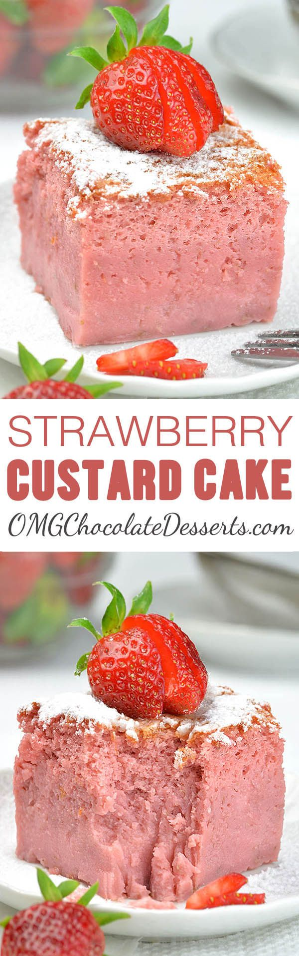 Strawberry Custard Cake is the best of all magic custard cakes I've ever tried. It's delicious, creamy and smooth and bursting with fresh strawberry flavor.