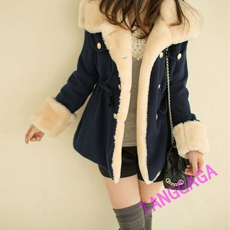Sweet Stylish Womens Casual Padded Winter Warm Snow Coat Faux Fur Lined Outwear