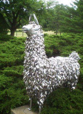 metal llama lawn art
