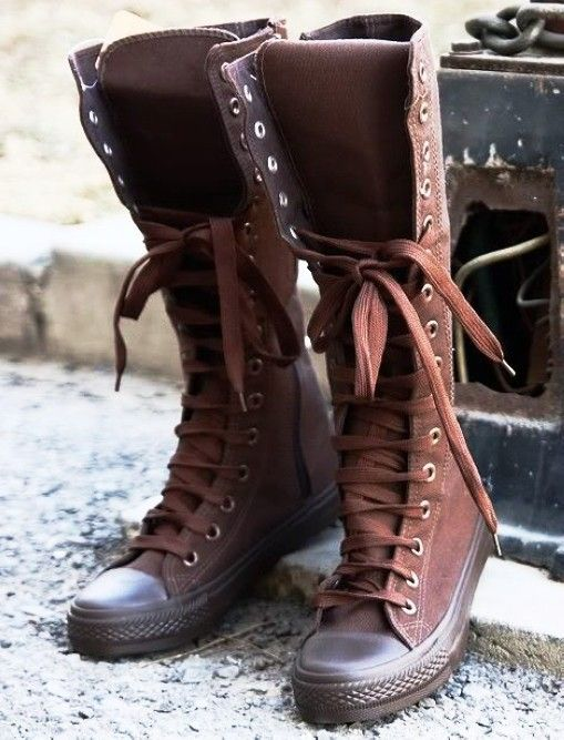 2014 Chic knee high converse sneaker boots, brown converse high top sneakers, knee high lace up sneaker boots