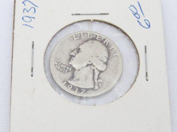 1937 D 90% Silver Washington Quarter Dollar Coin