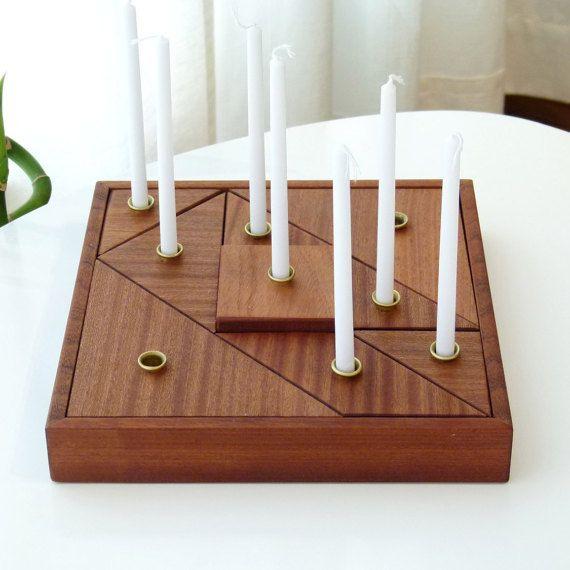 Hanukkah Menorah with gift package Wooden by StudioArmadillo