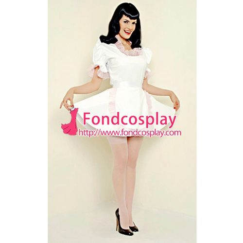 Free Shipping PVC Lockable Sissy Maid Dress Vinyl Uniform Tailor-Made