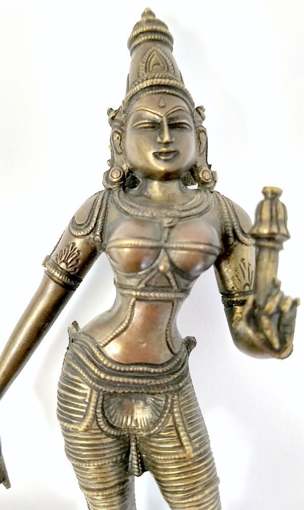 Cast Bronze Thailand Woman Standing Figurine Warrior Sun Shield 3D Details