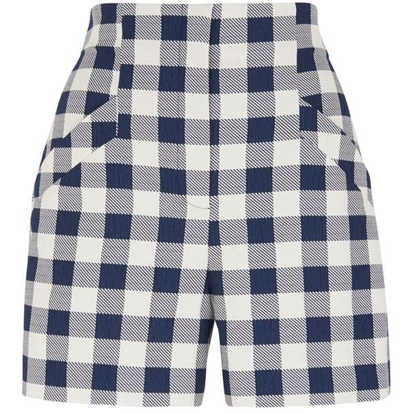 Whistles Gita Check Shorts, Blue/White (170 AUD) ❤ liked on Polyvore featuring shorts, tailored shorts, white tailored shorts, checkered shorts, blue shorts and white shorts