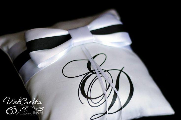 Подушечка для колец. Черно-белая коллекция. | wedcrafts.ru