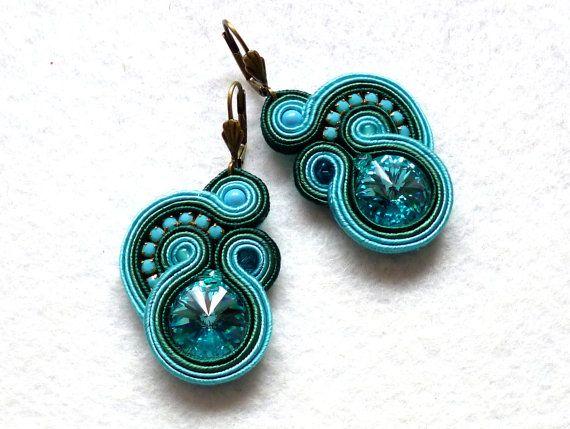Soutache Earrings Turquoise-Emerald Swarovski Elegant Ethno Boho Glamour Ohrringe Soutache Boucles d'oreilles soutache Orecchini Soutache