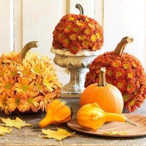 sweet flower pumpkins table centerpiece oct31storg halloween wedding - Halloween Wedding Table Decorations