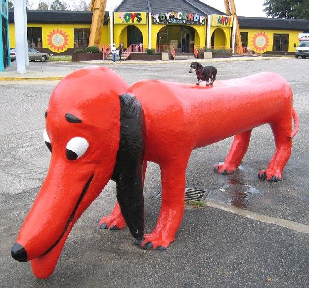 Giant Red Wiener Dog Statue With A Dachshund on his back