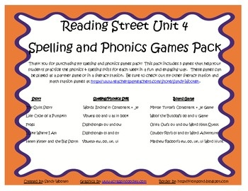 What a fun and engaging way to practice the spelling and phonics patterns from Reading Street Basal Series Unit 4! This pack includes 5 games that ...