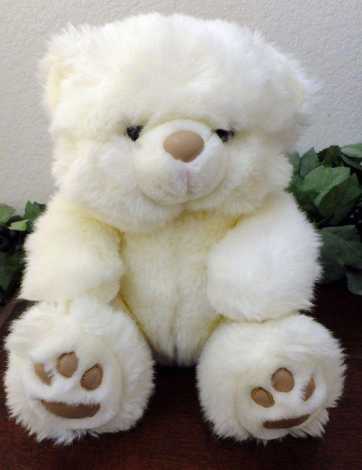 "Russ CREAMPUFF Stuffed Plush Teddy Bear Tan Faux Leather Paw Pads 10"" Sitting #Russ #RussBerrie #creampuff #TeddyBear"