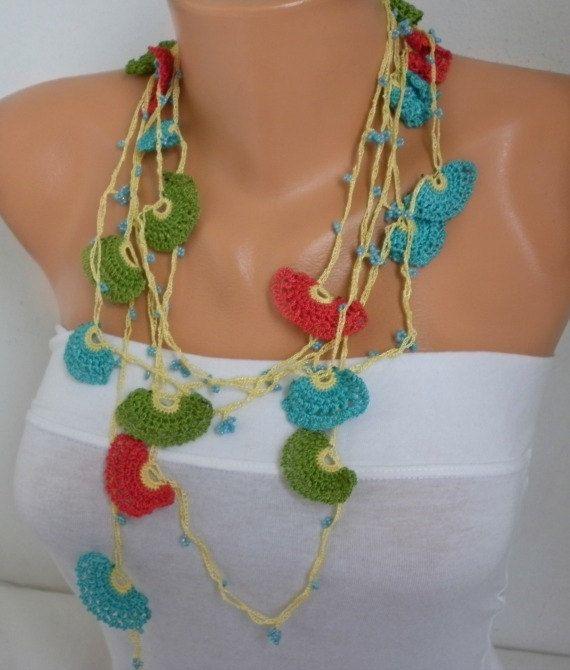 Lasso Blume Halskette türkischen ethnischen Stammes Handarbeit häkeln Blumen Halskette Gürtel Oya