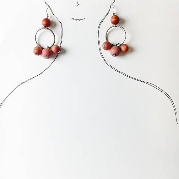 Vintage Aarikka red birch and metal earring-Kaija Aarikka