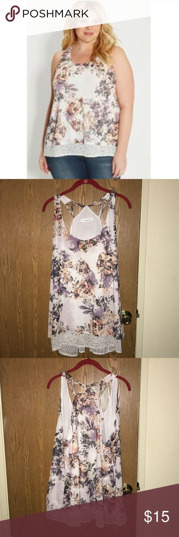"""Double Layered Floral Strappy Tank Top Maurices Plus Size 3: Flowy floral layer on top with a white shell and peek-a-boo polka dots underneath. Strappy Razorback style back.   In Excellent Condition  Measurements Laying Flat: Armpit to Armpit - 25"""" Shoulder to Bottom - 30"""" Bottom Hem - 28.5""""  Any other questions, please feel free to ask. Maurices Tops"""