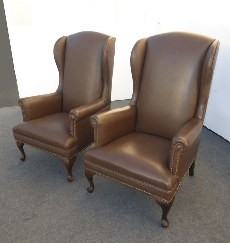 Gorgeous Vintage Tallback Wingback Brown Vinyl Arm Chairs