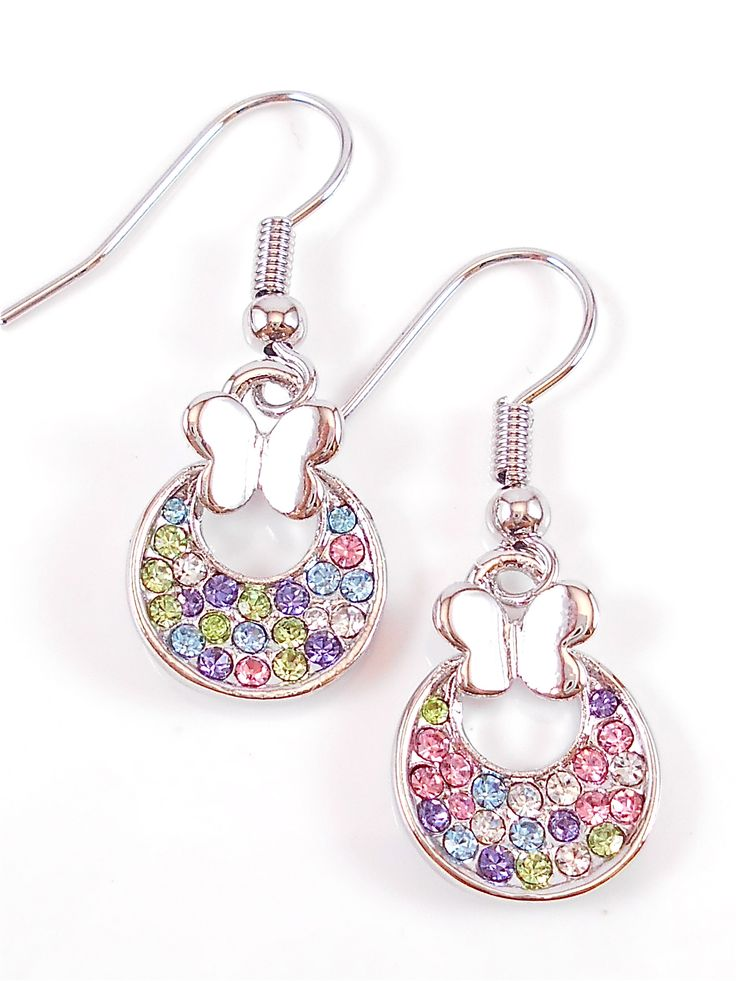 Dainty butterfly and multi coloured crystal earrings.