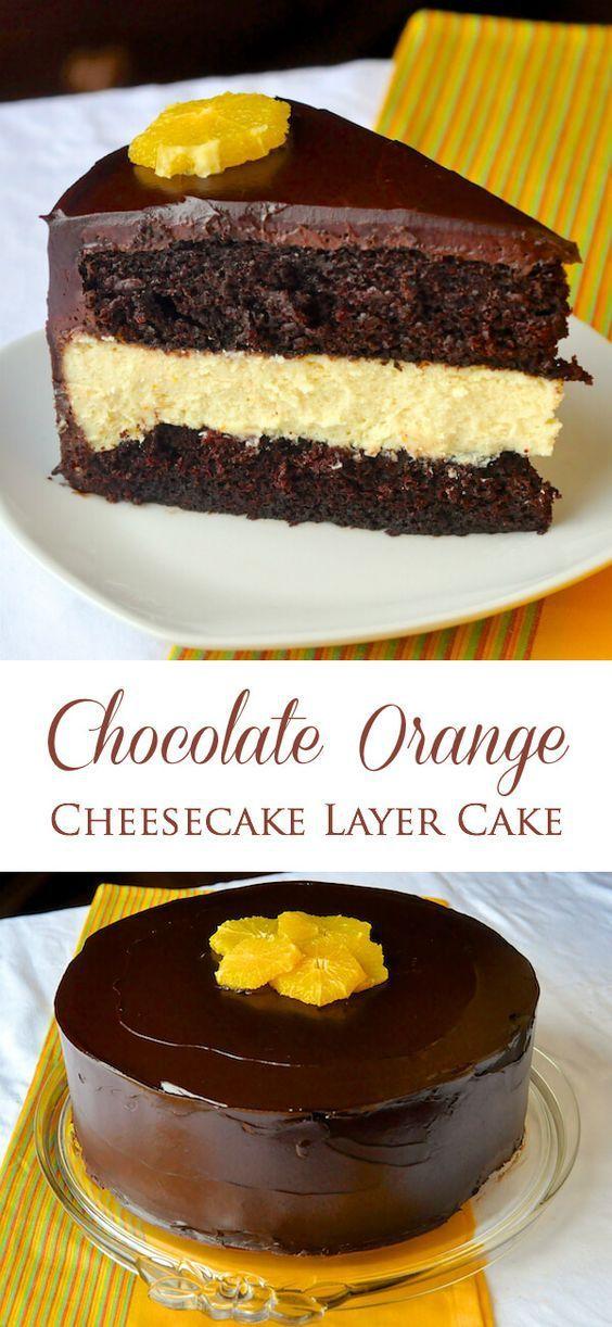 Chocolate Orange Cheesecake Layer Cake – one purely decadent dessert fusion…