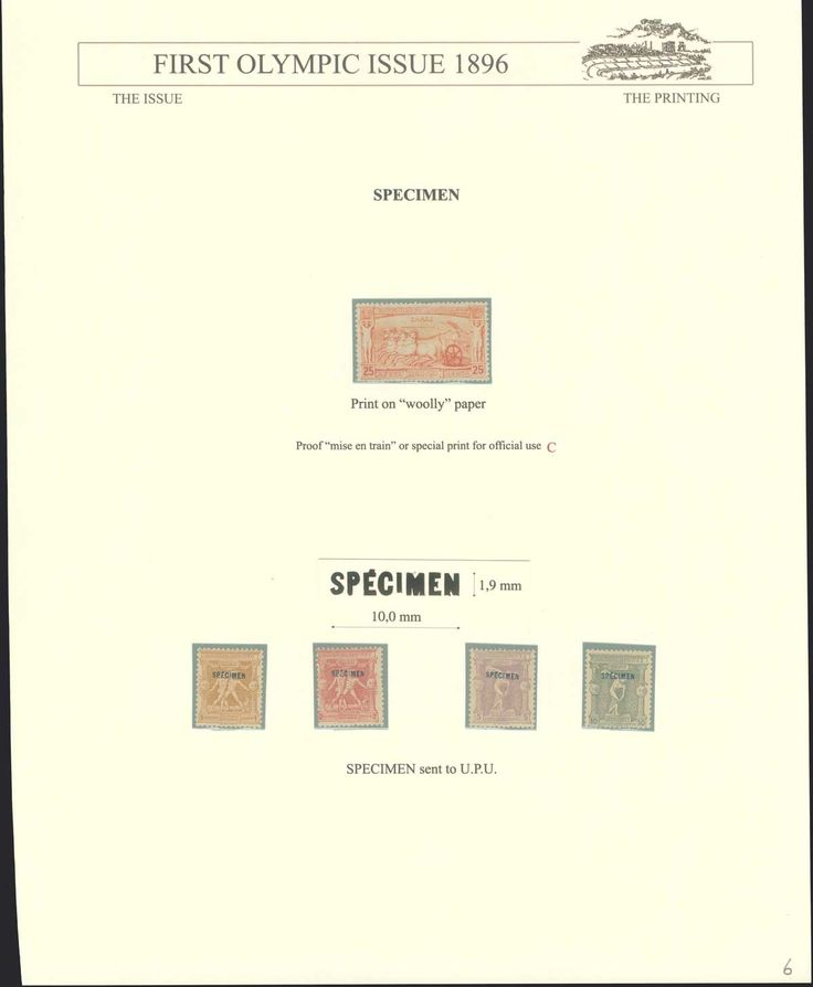 "25l. 1896 Olympic Games printed on ""wooly"" paper, proof ""mise en train"" or special print for official use."
