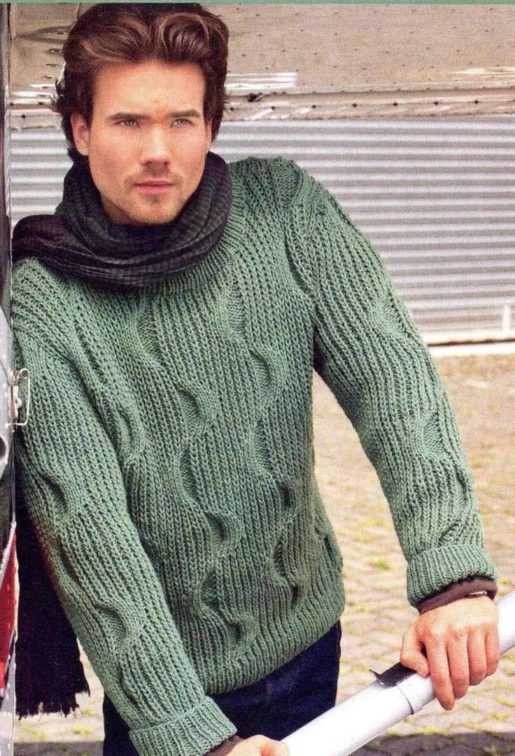 Модели вязания: Мужской пуловер с красивым узором