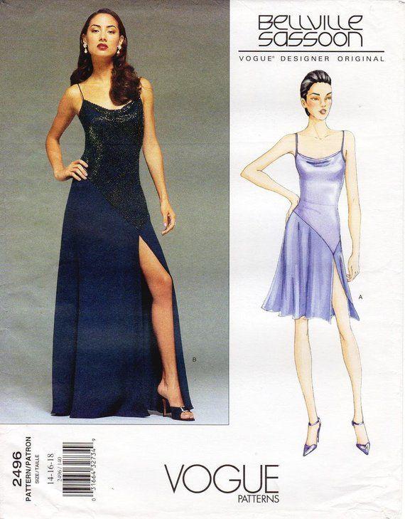 Sz 14 16 18 - Vogue Dress Pattern 2496 by BELLVILLE SASSOON - Misses   Close-Fitting 1d97da9aa