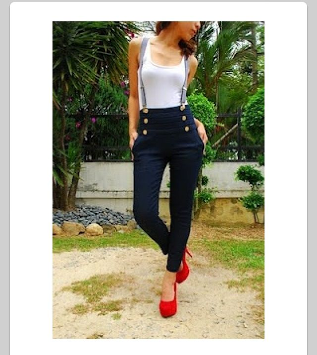 Top with grey suspenders black high waisted skinny jeans amp red heels