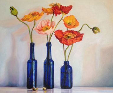 Blue Bottles and Poppies