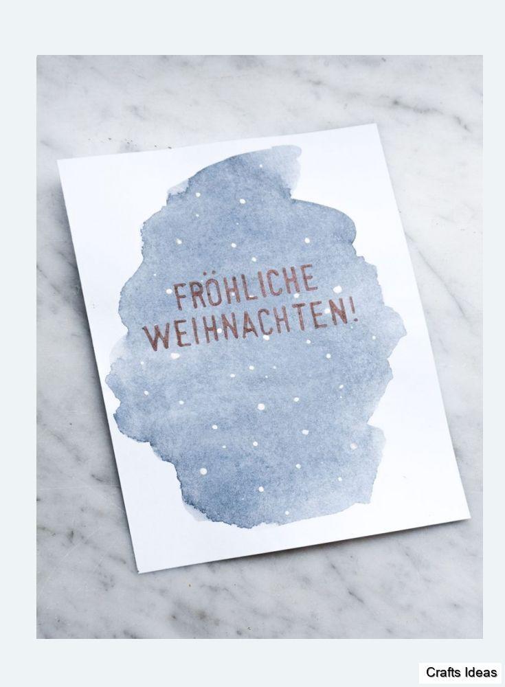Aquarell Weihnachtskarten Basteln Schereleimpapier Diy Aquarell