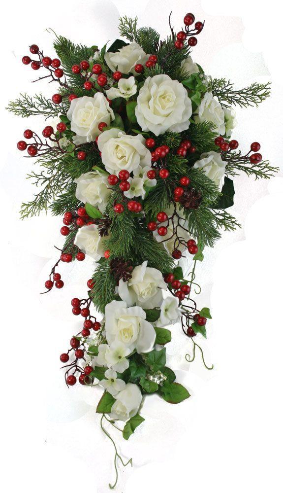 Winter Berry Rose Bridal Cascade Silk Wedding Flower Bouquet Ivory Red Thebridesbouquet Red Bouquet Wedding Flower Bouquet Wedding Bridal Bouquet Flowers
