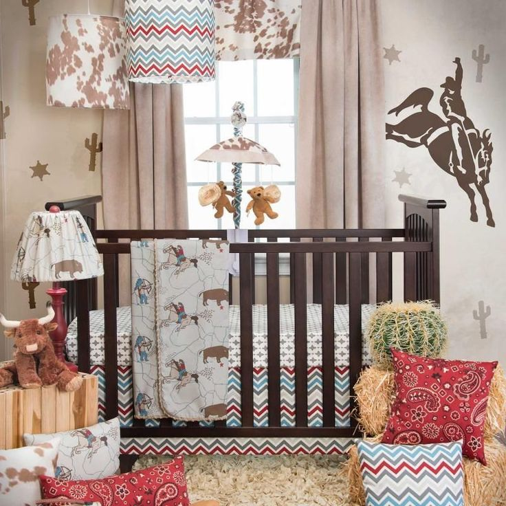 Chevron Zig Zag Country Western Cowboy Boys Nursery 3 Piece Crib Bedding Set #SweetPotato
