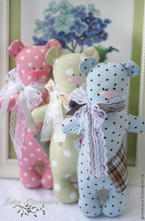 Купить Мишки-малышки именные - салатовый, мишка, тильда, мишка тильда, подарок, подарок ребенку