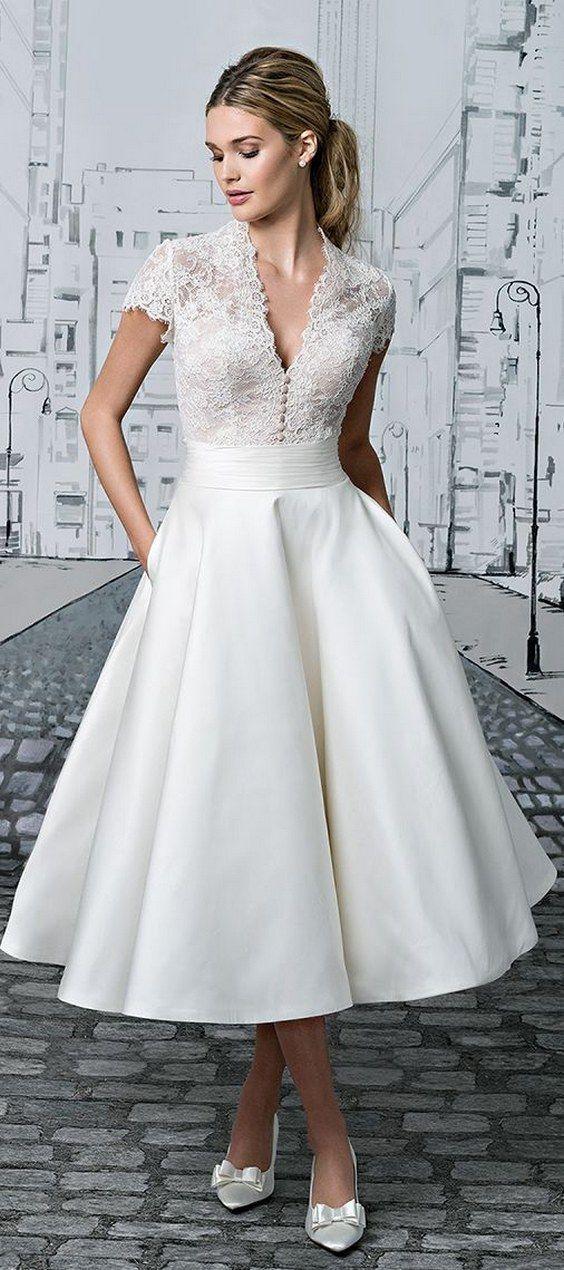 tea length wedding dress justin alexander 2017 / http://www.himisspuff.com/rehearsal-dinner-short-wedding-dresses/3/