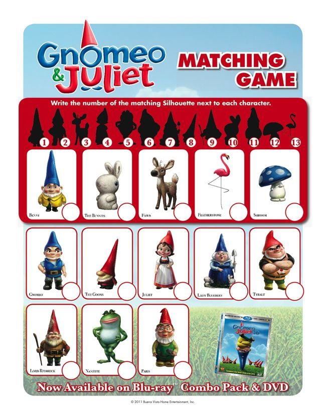 click on the image to download your free gnomeo and juliet matching game colouring page