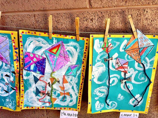 Kites. yarn, fabric scraps