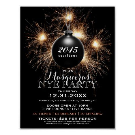 New Years Eve Party Advertisement Poster New Year\u0027s Eve