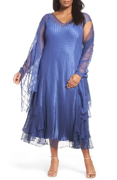 Komarov Charmeuse A-Line Dress & Chiffon Shawl (Plus Size) available at #Nordstrom