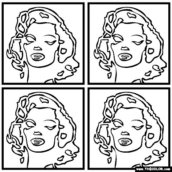 100 free coloring page of andy warhols painting marilyn monroe color in the painting