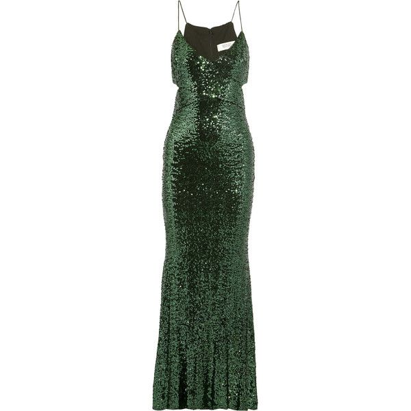 Badgley Mischka - Cutout Sequined Tulle Gown ($298) ❤ liked on Polyvore featuring dresses, gowns, emerald, green ball gown, green evening dress, green evening gown, green sequin gown and green gown